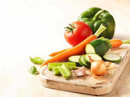Assorted vegetables on a cutting board