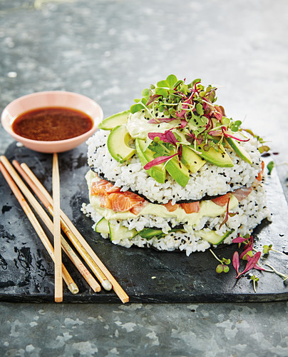 Sushi cake with avocado wasabi crema