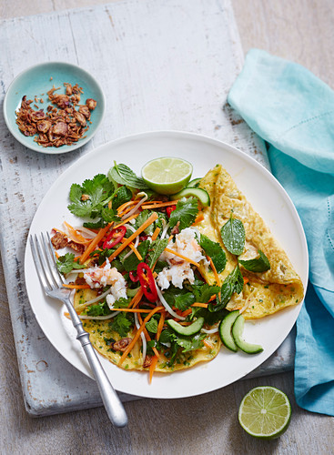 Crab Omelette with Asian Salad