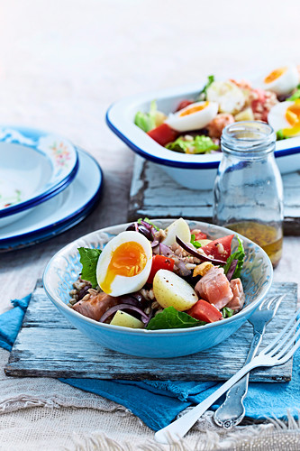 Salmon and Barley Nicoise salad