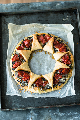 A manchego and chorizo wreath