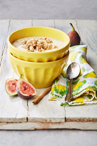 Sweet semolina soup with a fruit salad