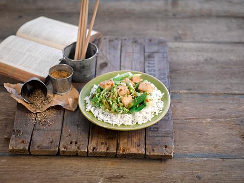 Tofu with asian greens