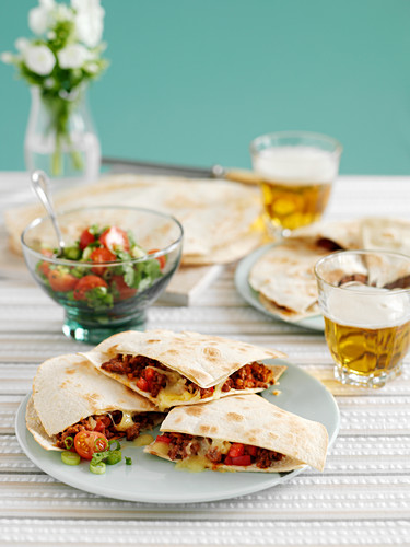 Quesadillas with beef, tomatoes and coriander (Mexico)