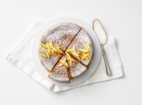 Torta Caprese (almond cake, Italy) with citrus fruit
