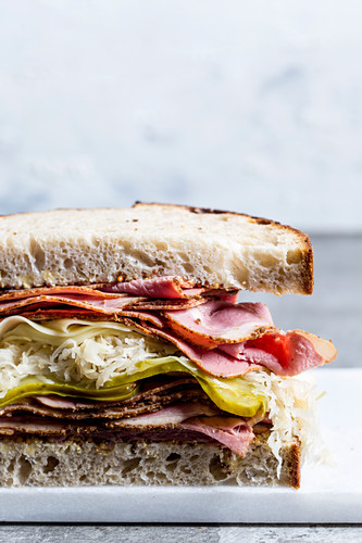 A Reuben sandwich with bourbon pickles