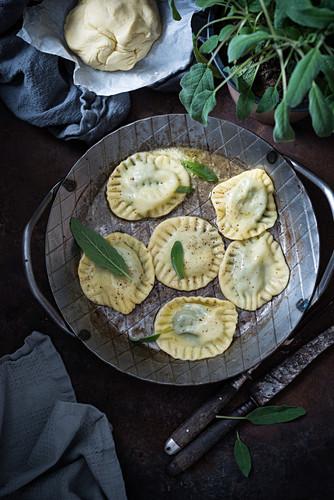 Ravioli in sage butter (vegan)