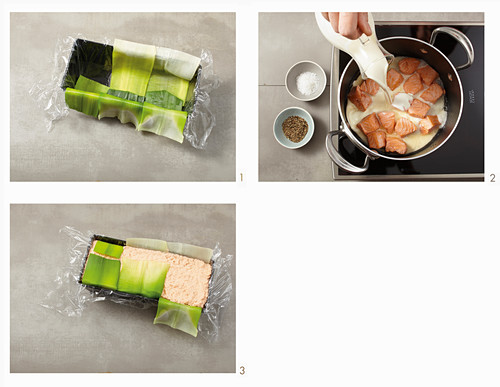 How to make salmon terrine wrapped in leeks