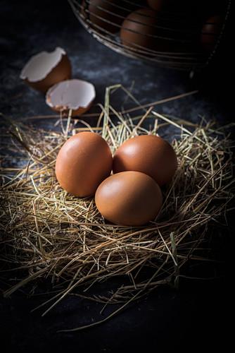 Braune Eier auf Stroh