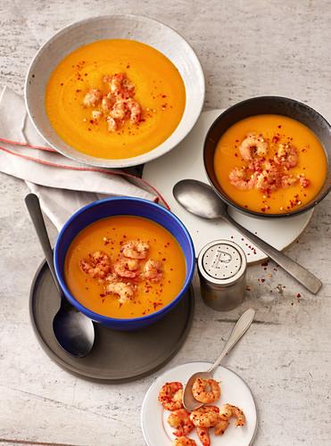 Pumpkin soup with chilli prawns