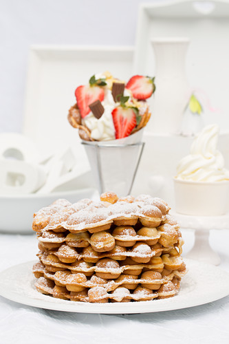A stack of freshly baked bubble waffles