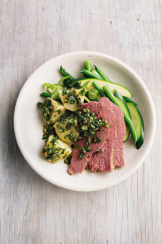 Balsamic corned beef with parsley relish