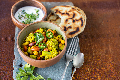 Vegitarian curry made from almonds