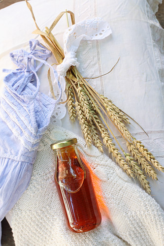 Massage oil made from wheat germ oil, marigolds, lavender and grapefruit oil