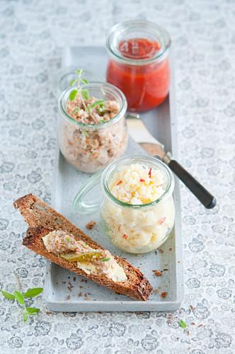 Various spreads in jars
