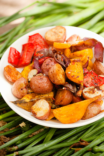 Potato Salad with Beets, Red Pepper and Onions
