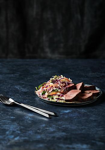 Beef fillet coleslaw