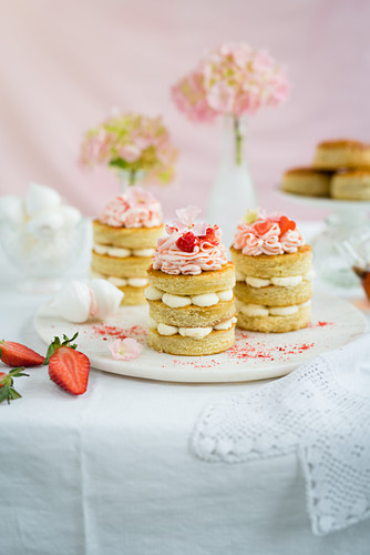 Mini vanilla cakes with pink frosting for afternoon tea