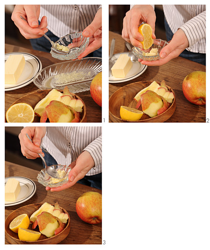 Natural lip balm being made from apple, butter and lemon juice