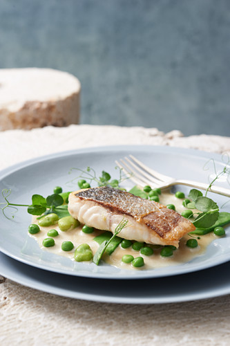 Bass with peas