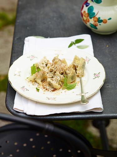 Cjarsons with herbs (dumplings, Carnia, Julian-Veneto, Italy)