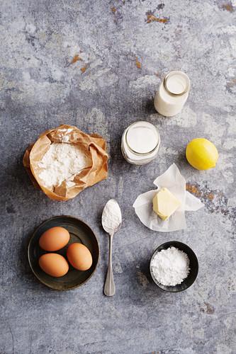 Ingredients for classic lemon soufflé