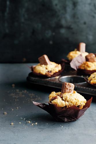 Chocolate caramel tim tam mini muffins