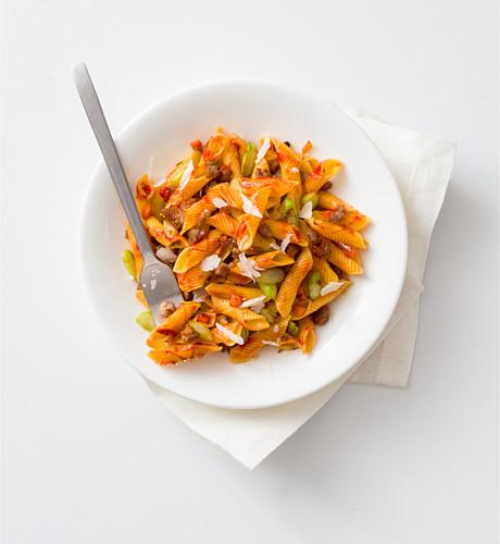 Garganelli with salsiccia and asparagus