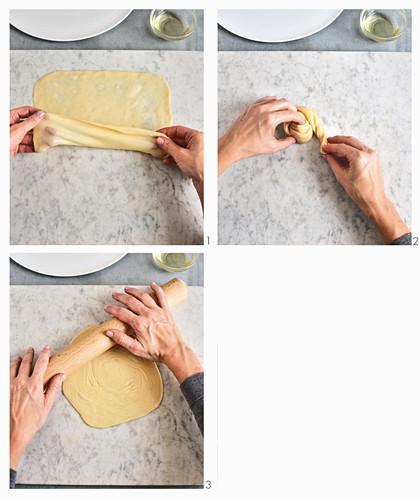 Roti prata – roasted unleavened bread being made