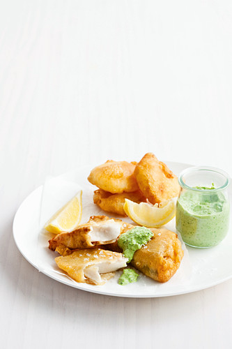 Beer-battered barra and potato scallops with minted pea mayo
