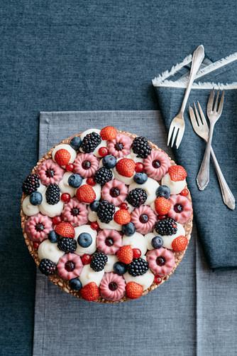 Modern Tart with Puffed Rice Chocolate and Wild Berries