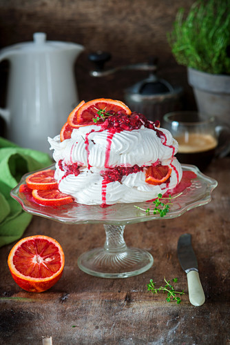 Pavlova with blood oranges