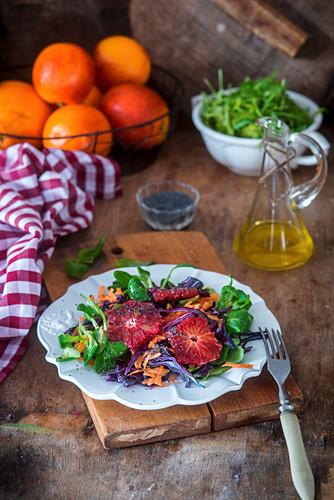 Winter salad with blood oranges