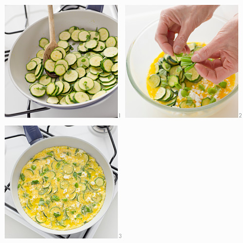 A courgette frittata with ricotta and herbs being made