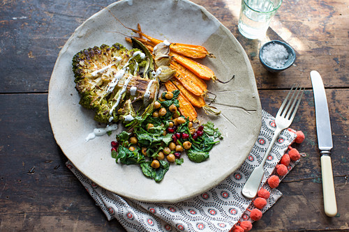 Mixed roast vegetables, Romanesco, carrots, spinach and chickpeas