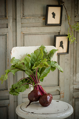 A bunch of beetroot with greenery