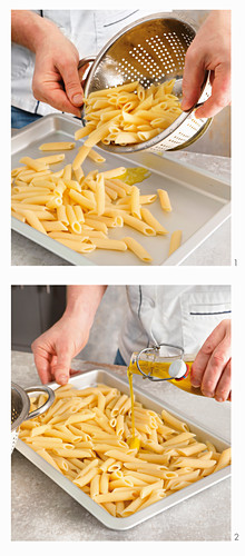 Pre-cooked pasta with olive oil