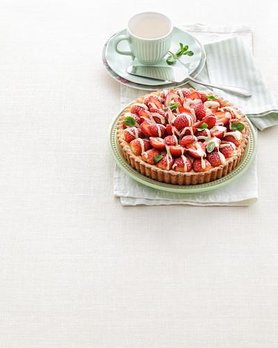 Ricotta cake with strawberries