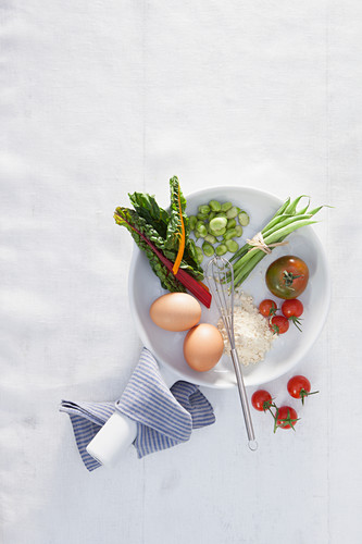 Ingredients for a vegetable omelettes with eggs