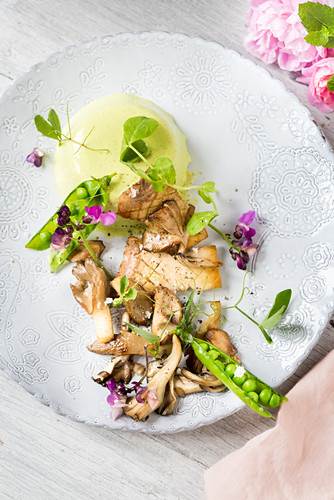 Pea Pana cotta with wild mushrooms