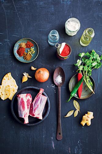 Zutaten für indisches Lammcurry