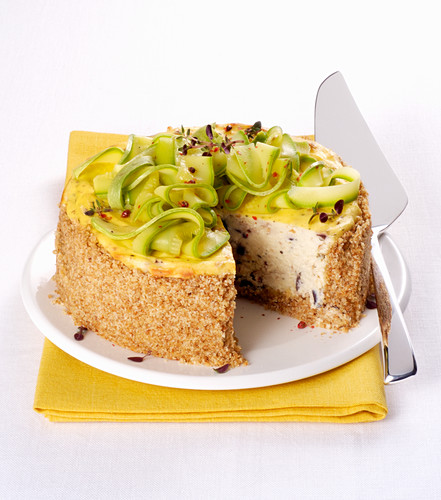 A savory cheesecake with ricotta