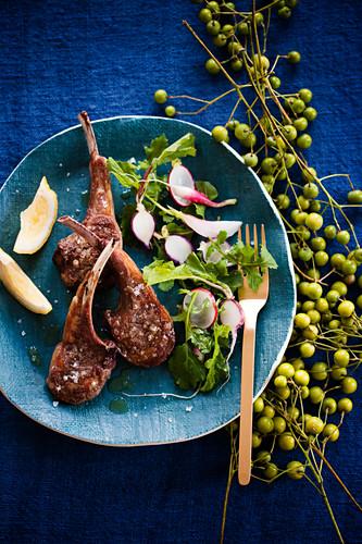 Lamb chops with radishes