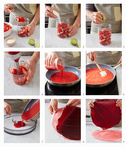 Strawberry fruit leather being made