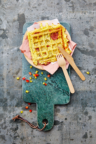 A stuffed pizza waffle