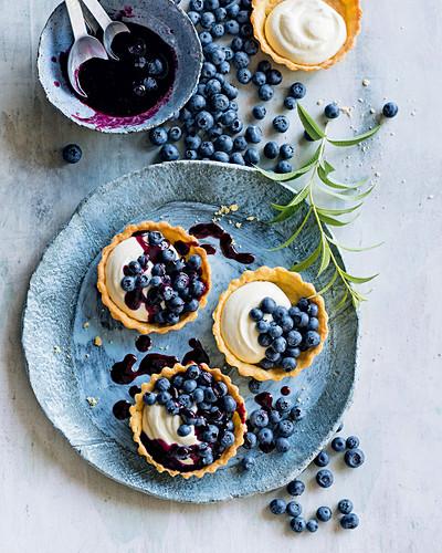 Blueberry and lemon verbena tarts
