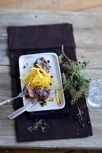 Juniper berry saddle of lamb with potato straw