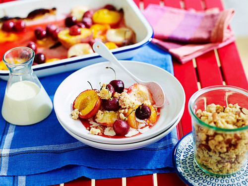 Roasted summer fruit crumble