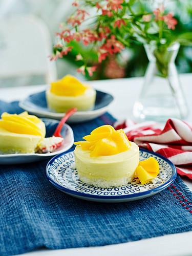 Little mango cheesecakes