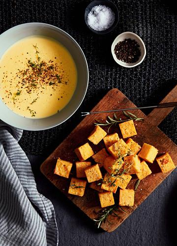 Crunchy Polenta with Fondue